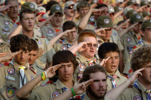 050431-N-1810F-181 Fort A.P. Hill, Va. (April 31, 2005) - The spirit of brotherhood through scouting closely resembles that found in the Navy, which add to the spirit of adventure during the National Boy Scouts Jamboree. More than 40,000 Boy Scouts from every state in America and dozens of other countries attended the Jamboree at Fort A.P. Hill. U.S. Navy photo by All Hands Photographer's Mate 2nd Class Todd Frontom (RELEASED)